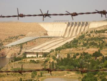 Keban Dam behind barbed wire